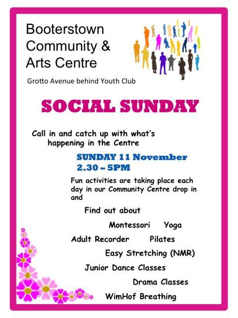 Social Sunday 2.30 to 5.00pm 11th November 2018