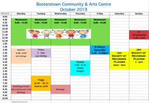 Schedule of Activities October 2019