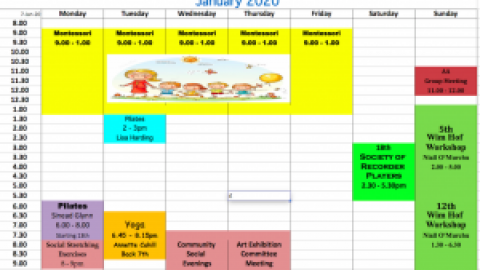 Schedule of Activities January 2020