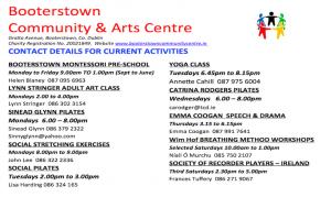 Contact Details for Activities